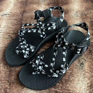 Chaco Black White Checkerboard Sandals